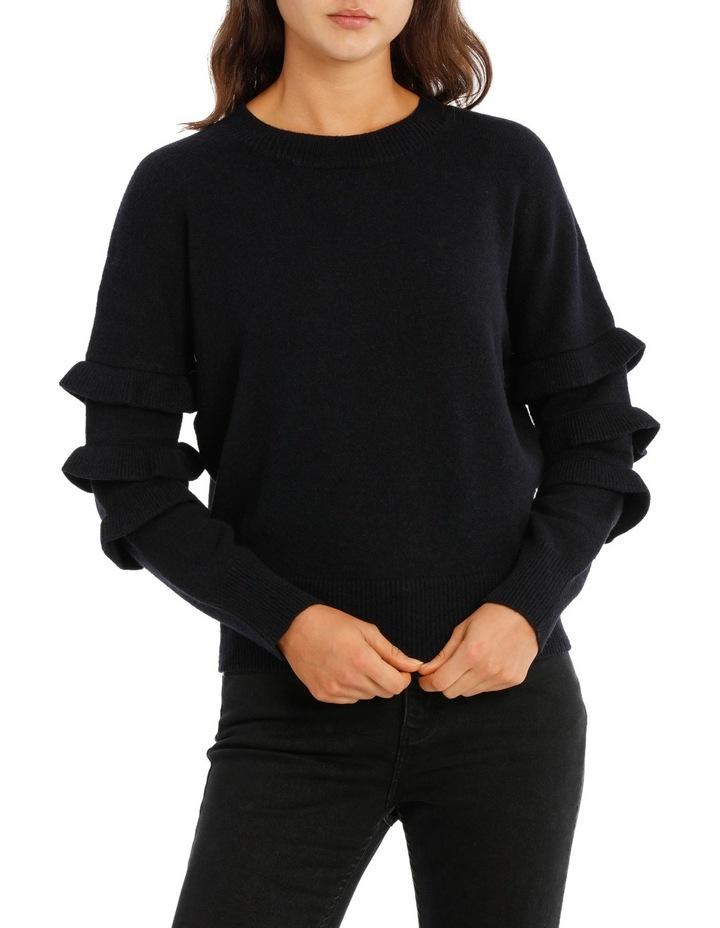 Sweater with Ruffle Sleeve Crew Neck image 1