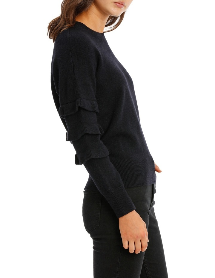 Sweater with Ruffle Sleeve Crew Neck image 2