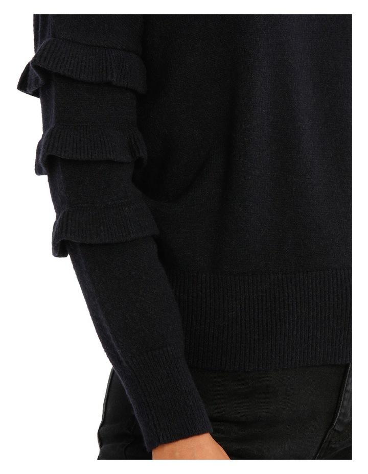 Sweater with Ruffle Sleeve Crew Neck image 4
