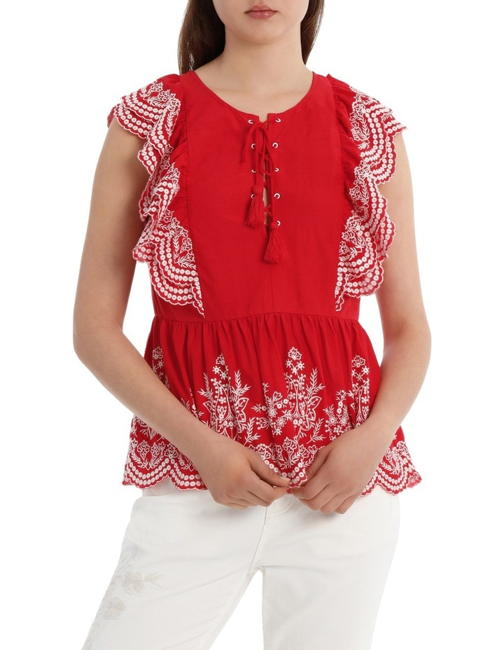 Embroidered Ruffle Top image 1