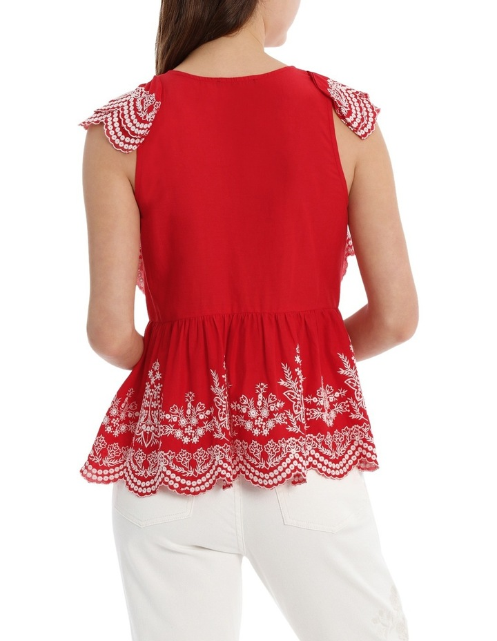 Embroidered Ruffle Top image 3