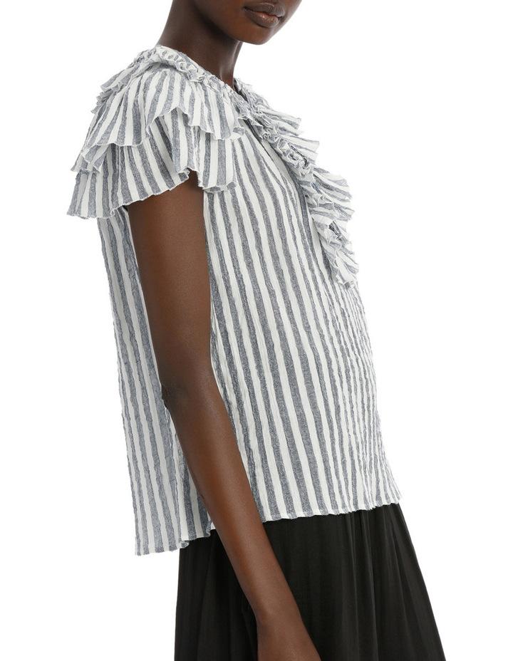Top with stripe tie neck image 2