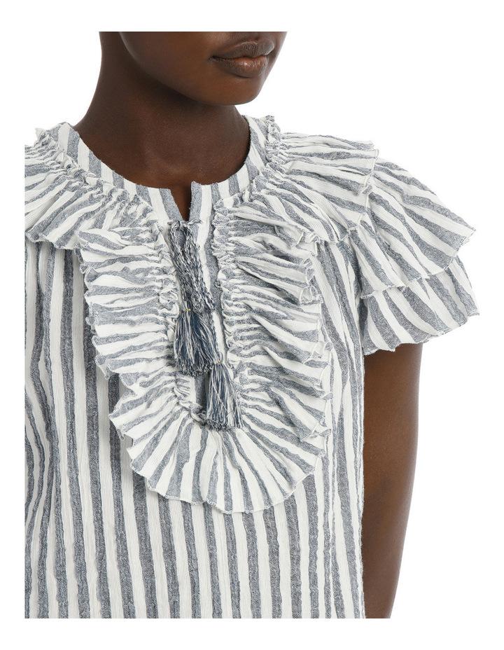 Top with stripe tie neck image 4