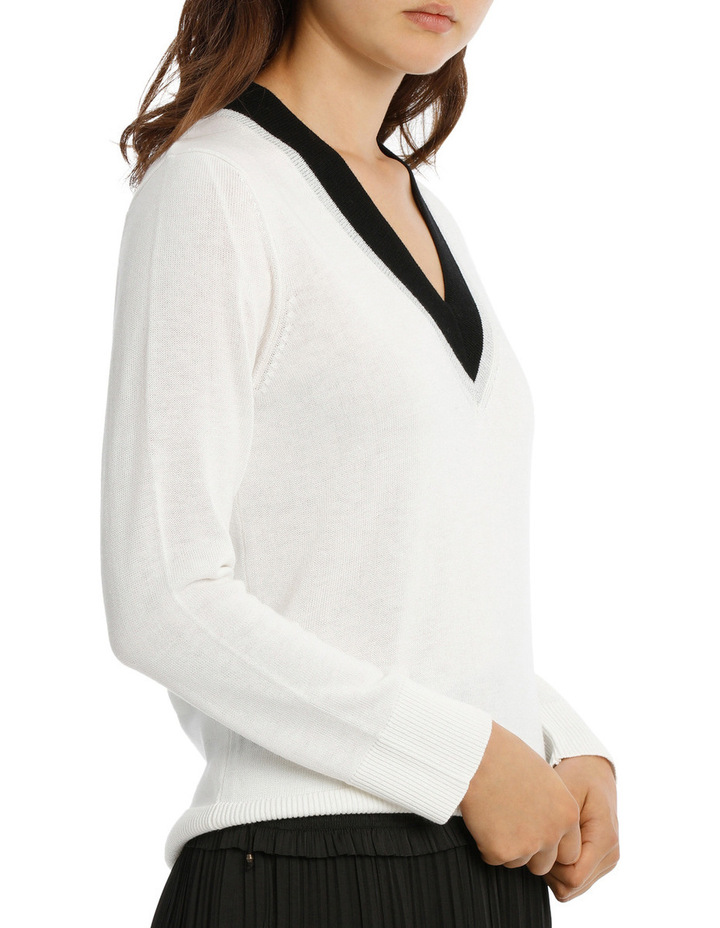 Sweater Vee Neck Cricket Style Lurex Tipped image 2