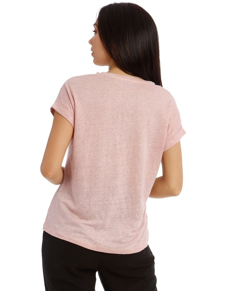 Linen T-Shirt with Cuffed Sleeves image 3