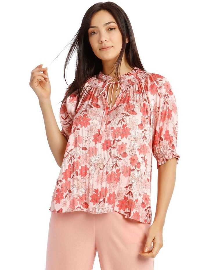 Pleated Top with Shirred Collar image 1