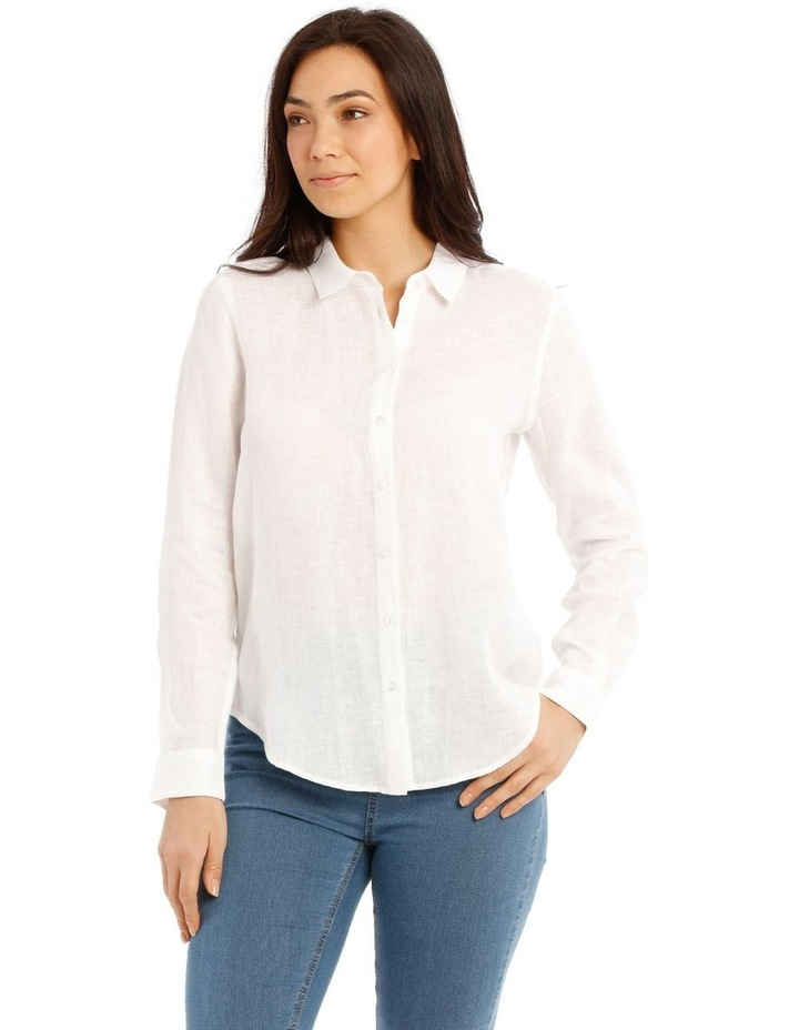 Solid Long Sleeve Linen Shirt image 1
