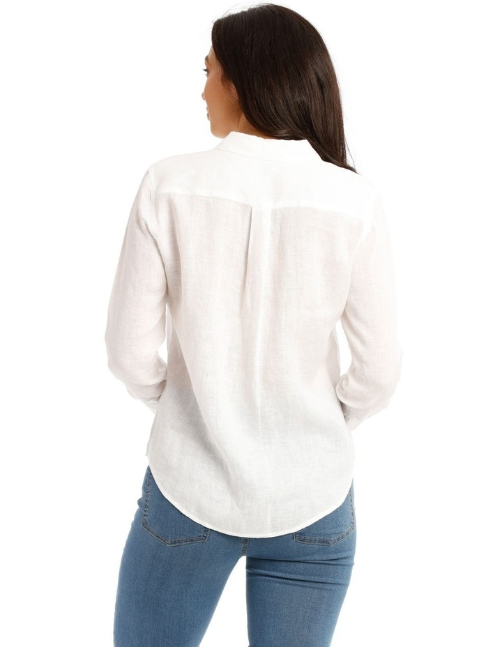 Solid Long Sleeve Linen Shirt image 3