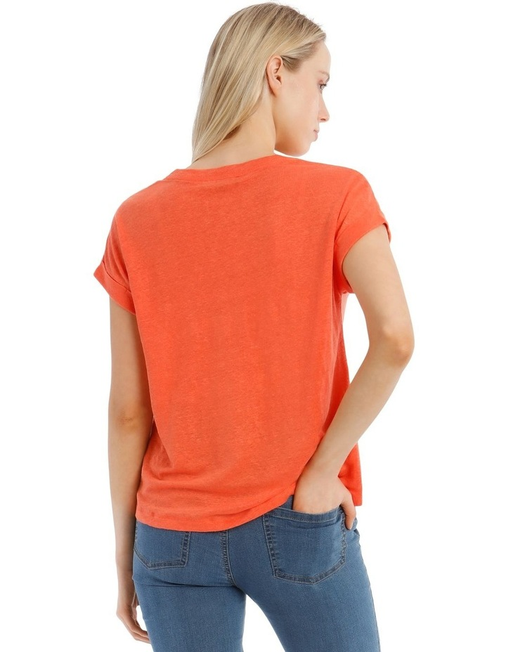 Linen Tee With Scoop Neck And Cuff Sleeve image 3