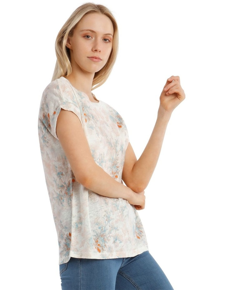 Linen Tee With Scoop Neck And Cuff Sleeve Print image 2