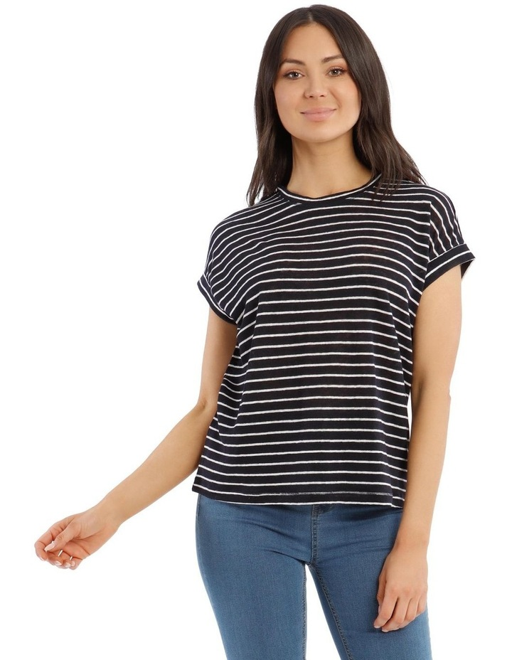 Linen Tee with Scoop Neck and Cuff Sleeves image 1