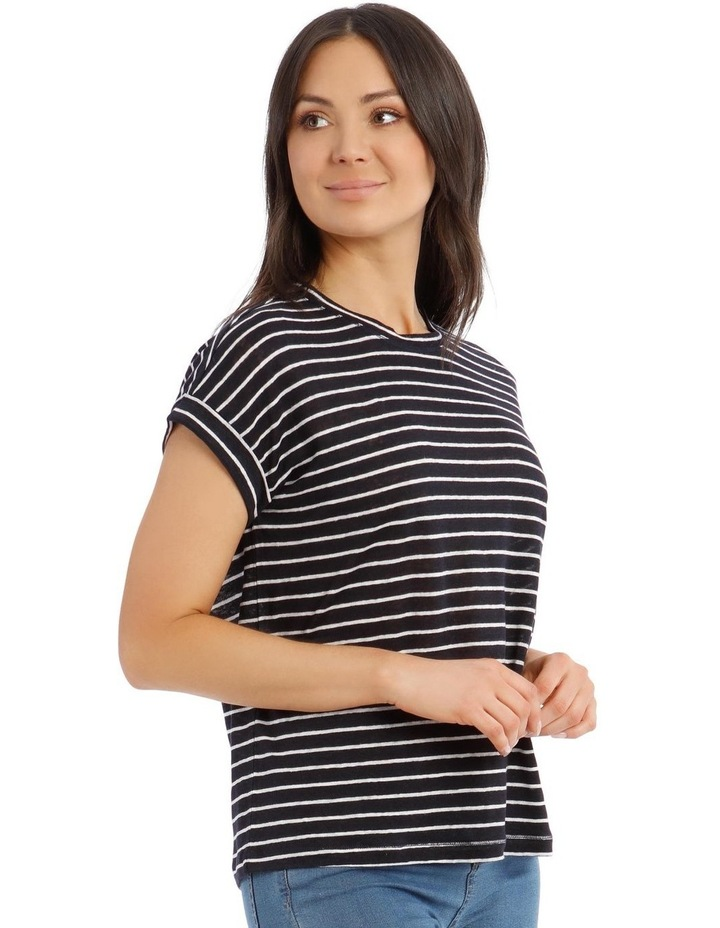 Linen Tee with Scoop Neck and Cuff Sleeves image 2