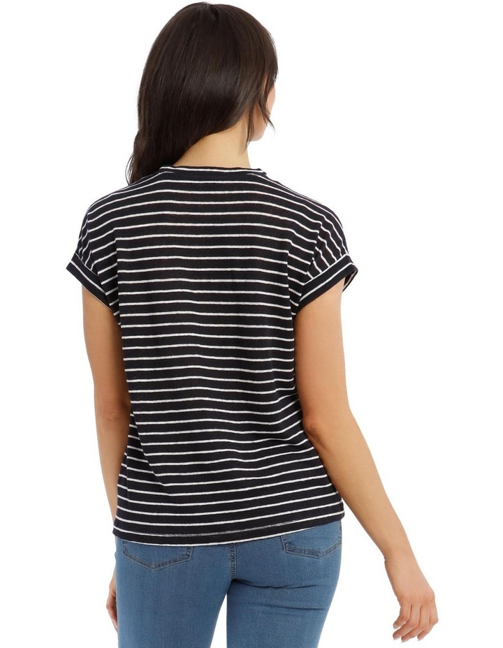 Linen Tee with Scoop Neck and Cuff Sleeves image 3
