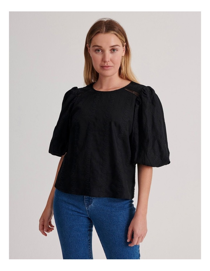 Puff Sleeve Embroidered Top image 1