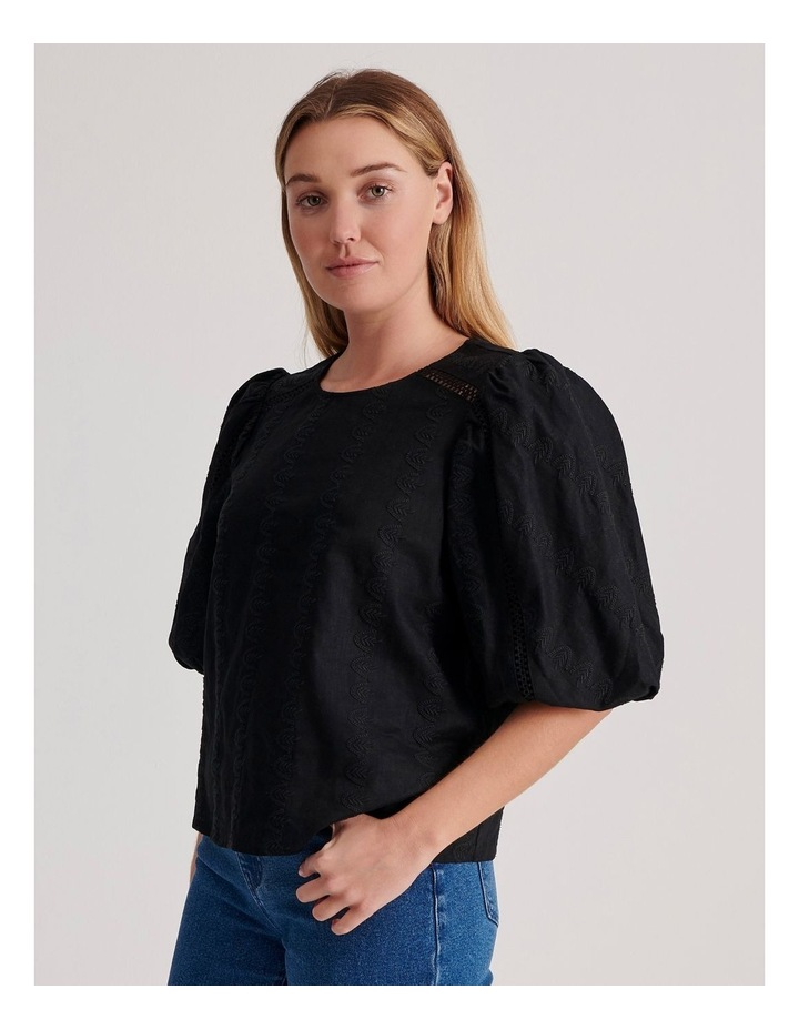 Puff Sleeve Embroidered Top image 3
