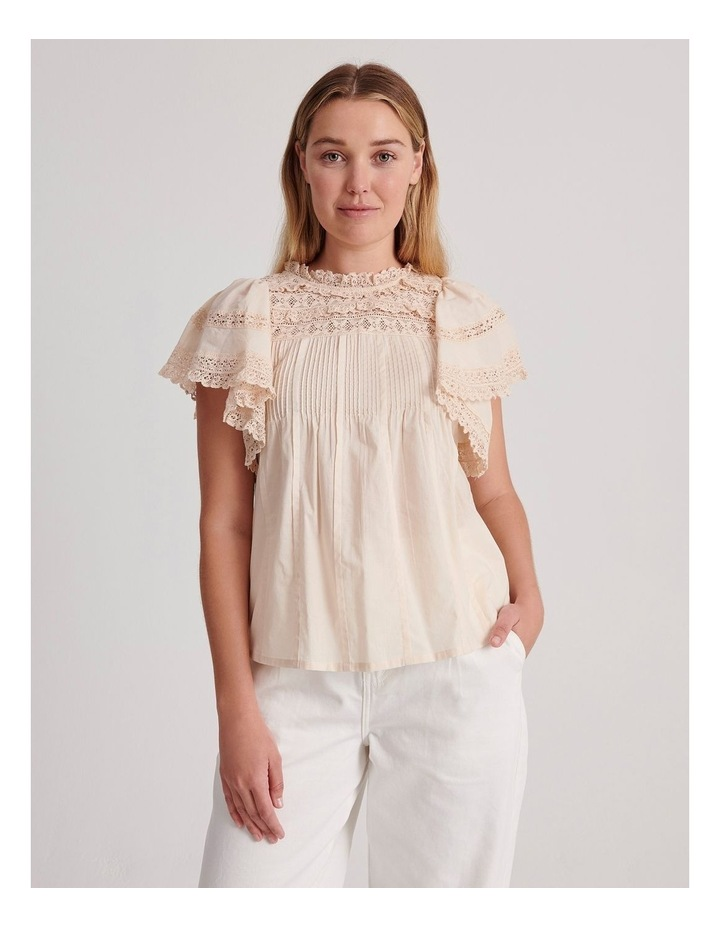 Flutter Sleeve Lace Trim Top image 2