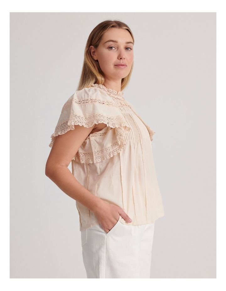 Flutter Sleeve Lace Trim Top image 4