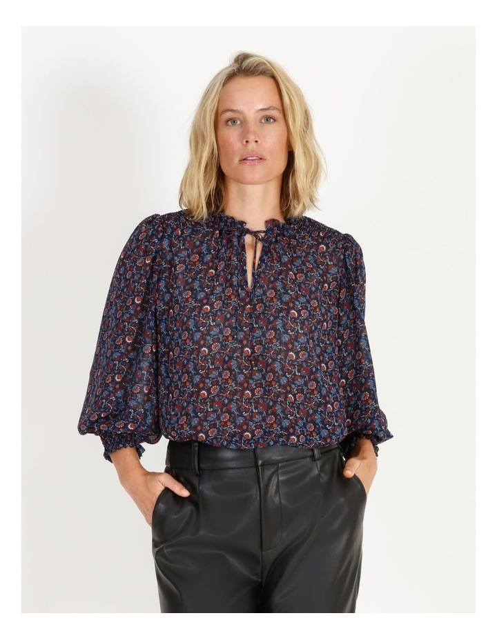 Printed Blouse With Shirring Detail image 5