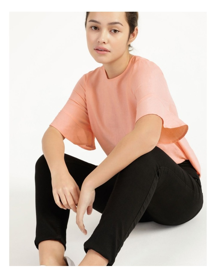 Linen Flutter Sleeve Top Peach image 1