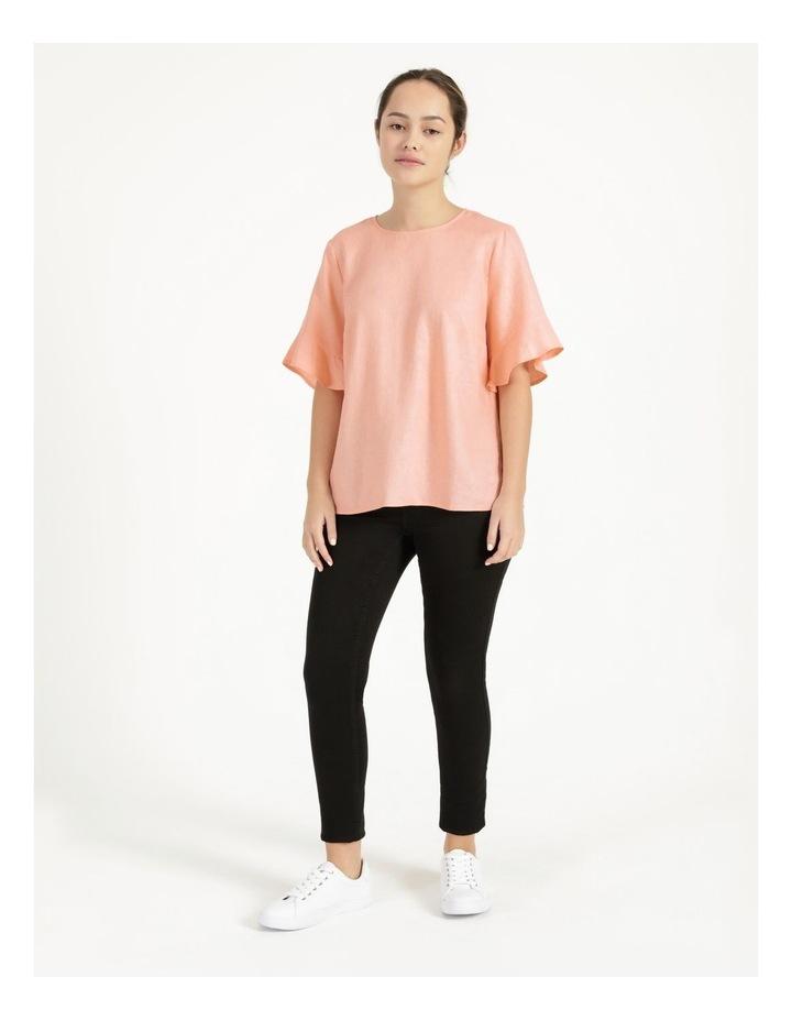 Linen Flutter Sleeve Top Peach image 2