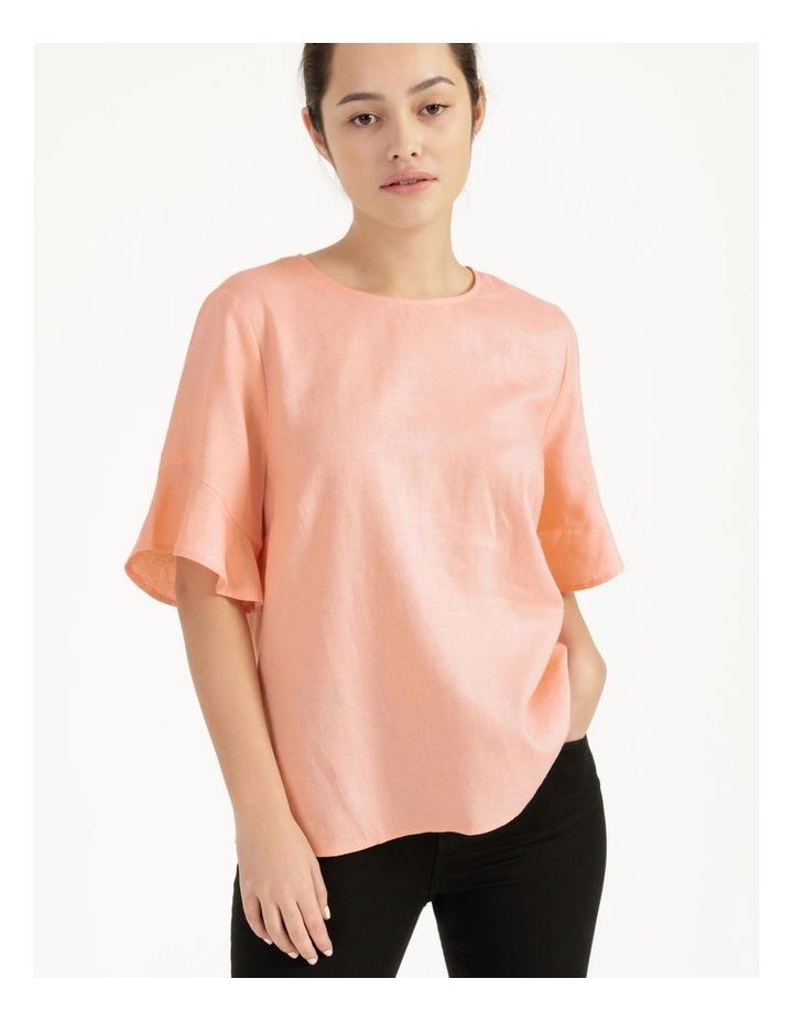 Linen Flutter Sleeve Top Peach image 3