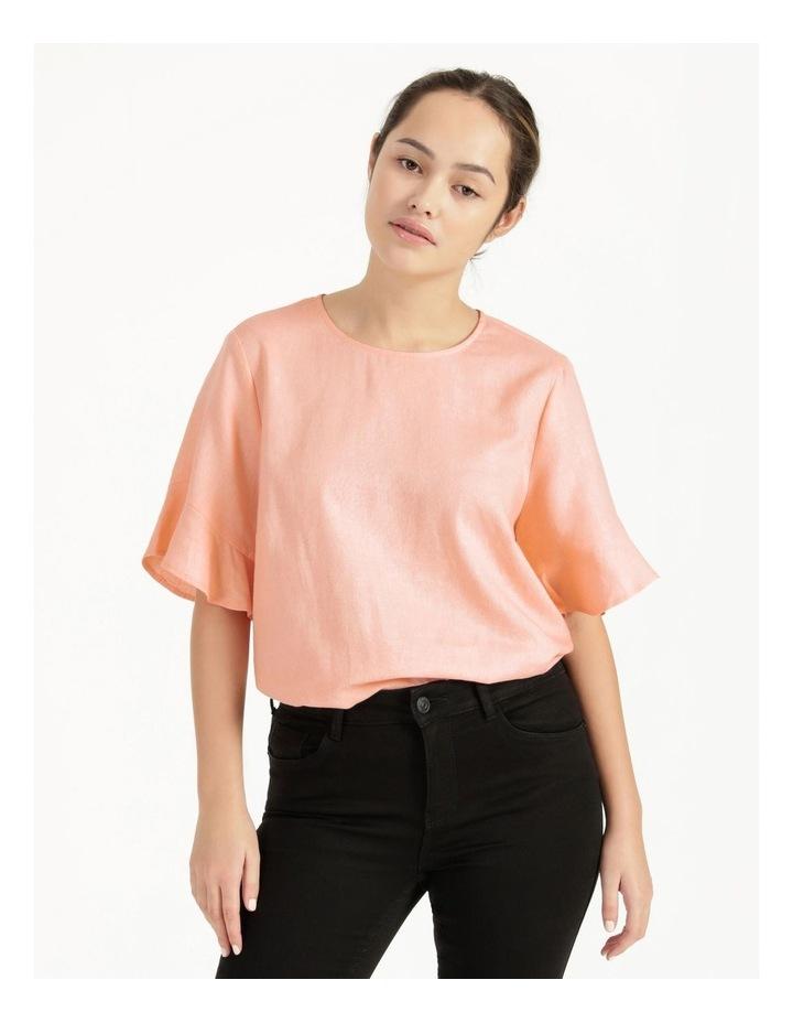 Linen Flutter Sleeve Top Peach image 4