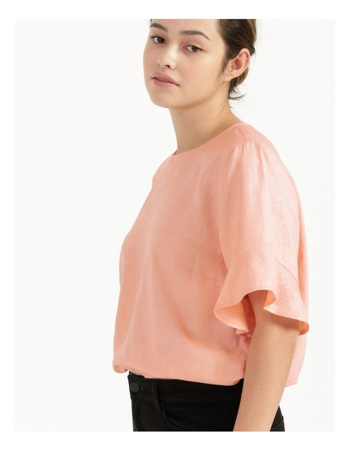 Linen Flutter Sleeve Top Peach image 5
