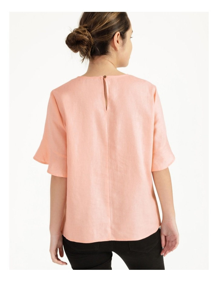 Linen Flutter Sleeve Top Peach image 6