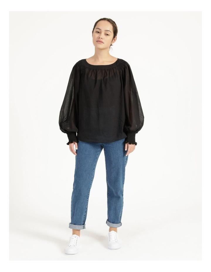Long Sleeve Smocking Blouse Black image 2