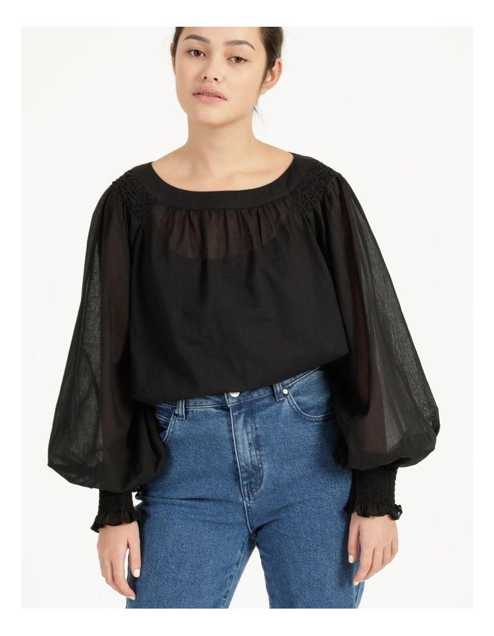 Long Sleeve Smocking Blouse Black image 3