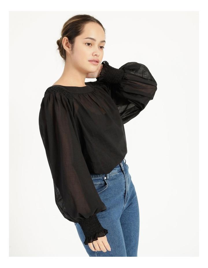 Long Sleeve Smocking Blouse Black image 4