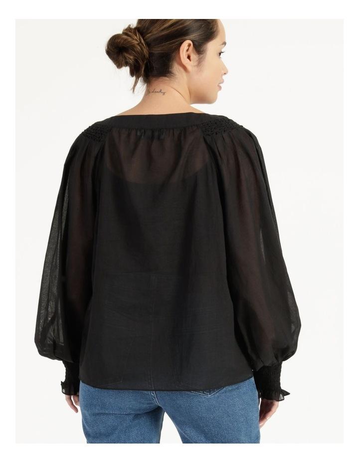 Long Sleeve Smocking Blouse Black image 5