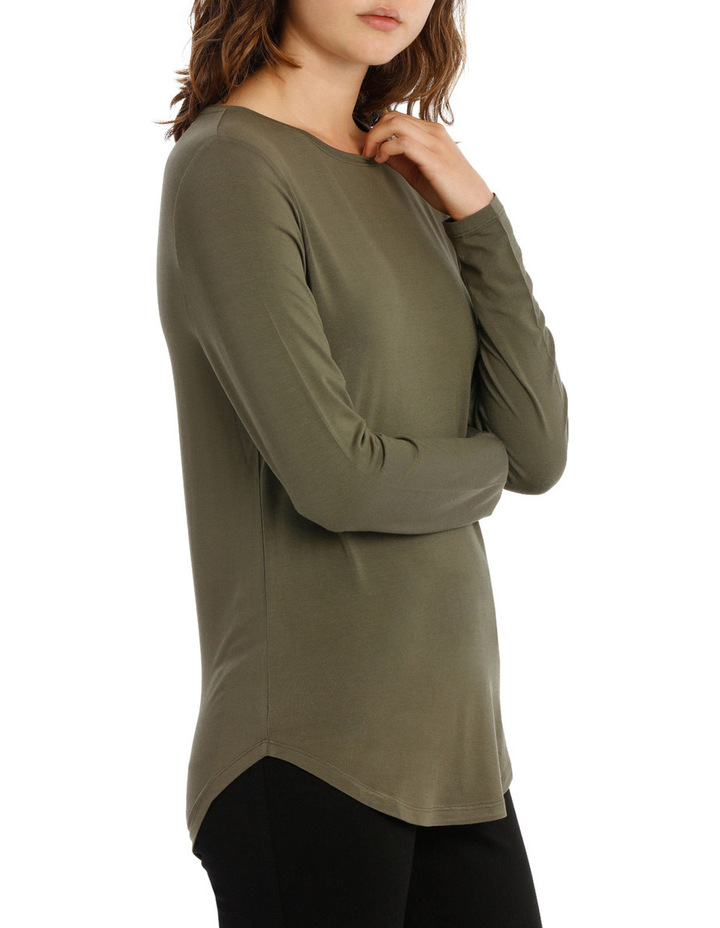 Tee With Crewneck Rounded Hem Detail Fitted PW18003/P image 2