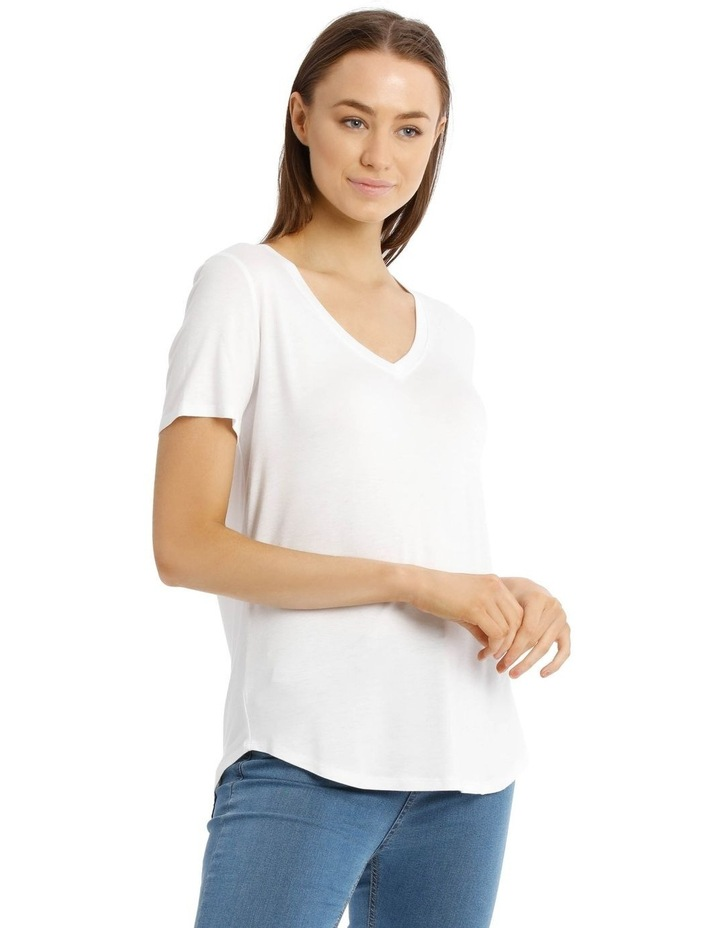 Vee Neck Tee With Curved Hem image 1