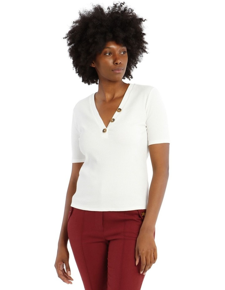 Ribbed Tee With Button Details image 1