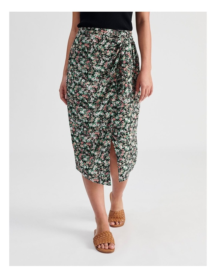 Ditsy Floral Wrap Skirt With Side Tie image 1