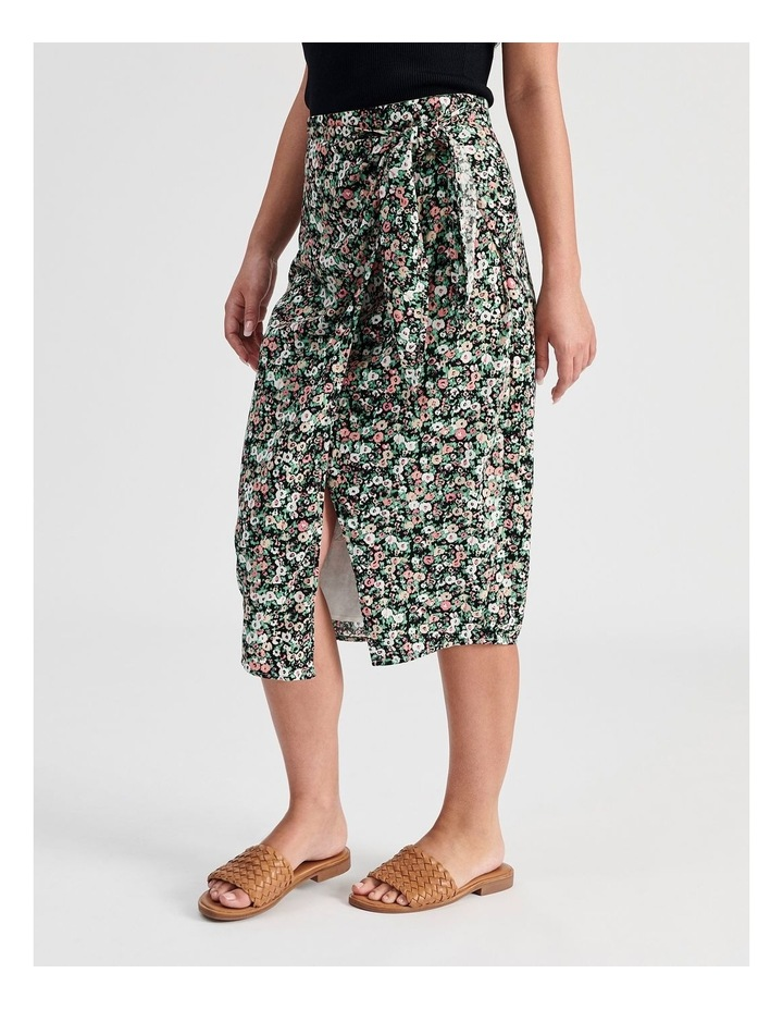 Ditsy Floral Wrap Skirt With Side Tie image 2
