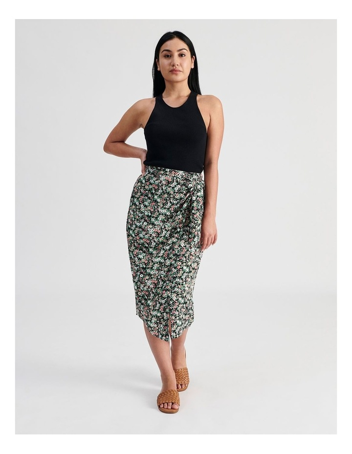 Ditsy Floral Wrap Skirt With Side Tie image 4