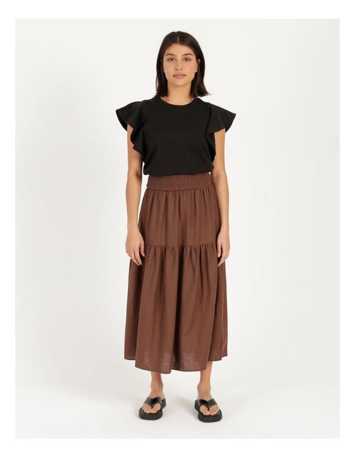 Linen Blend Shirred Waist Skirt image 1