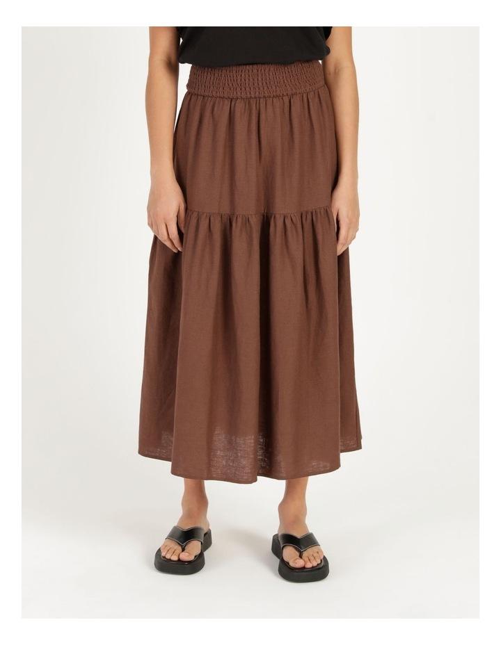 Linen Blend Shirred Waist Skirt image 2