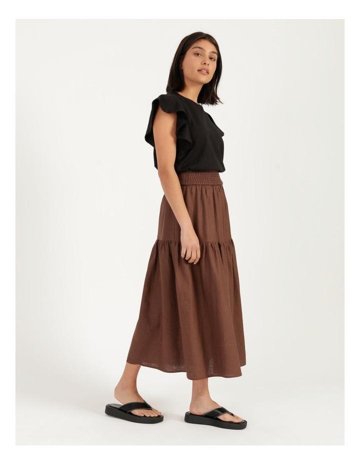Linen Blend Shirred Waist Skirt image 3
