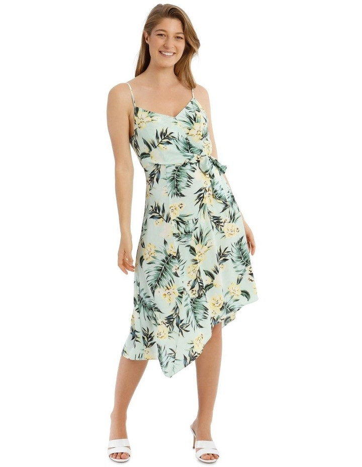 Tropical Palm Dress with Tie Detail image 1