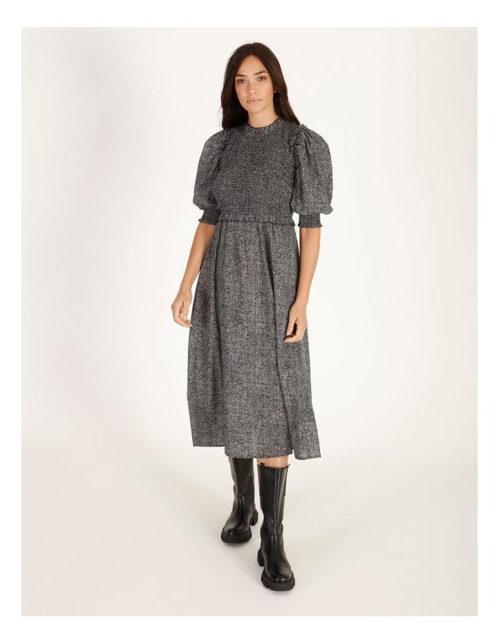 Short-Sleeve Shirred Midi Dress image 1