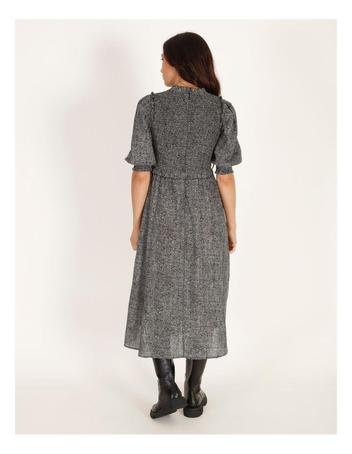 Short-Sleeve Shirred Midi Dress image 3