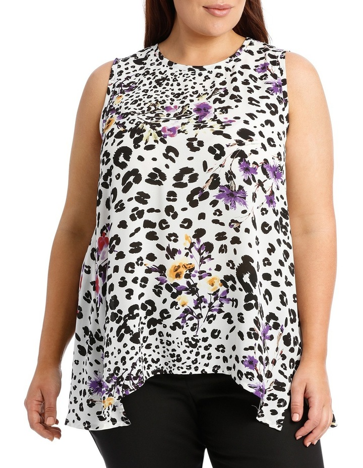 Ivory Animal Floral  High Low Swing Top image 1