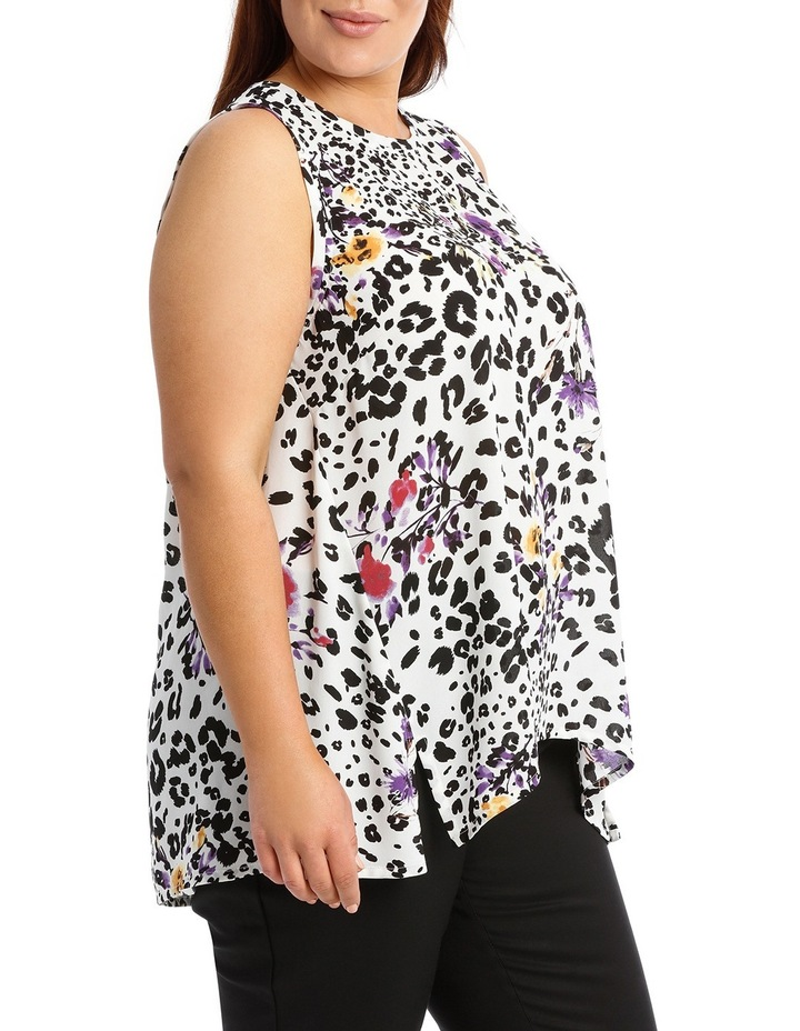 Ivory Animal Floral  High Low Swing Top image 2