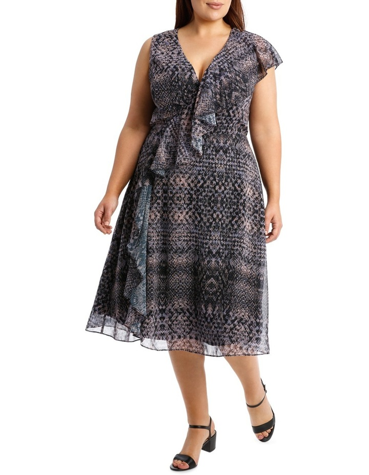 58a0d1ce2e Python Print Ruffle Mock Wrap Dress image 1