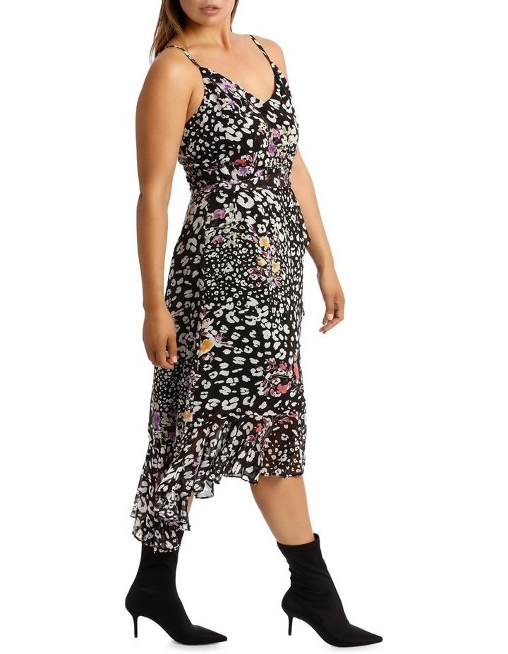 Black  Animal Floral V - Neck Ruffle Dress image 2