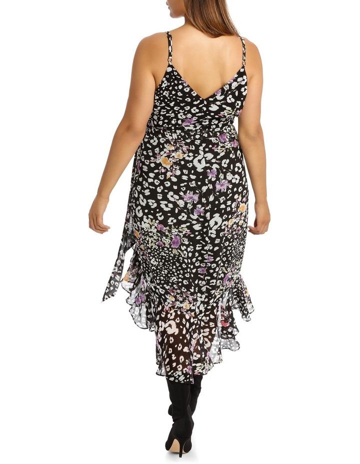 Black  Animal Floral V - Neck Ruffle Dress image 3