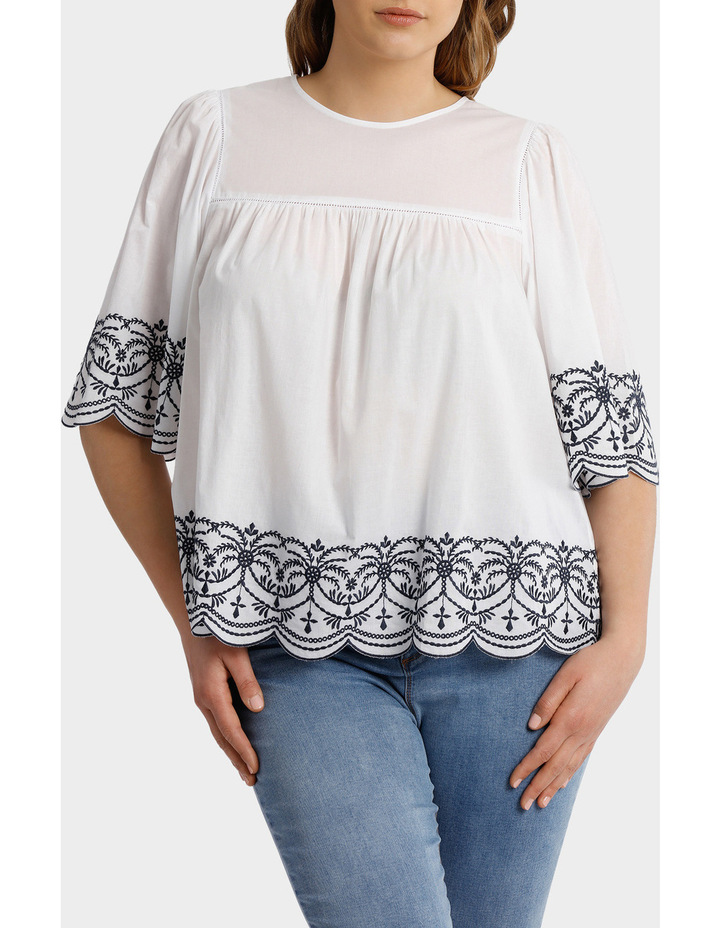 Top with Yoke Embroidery image 1